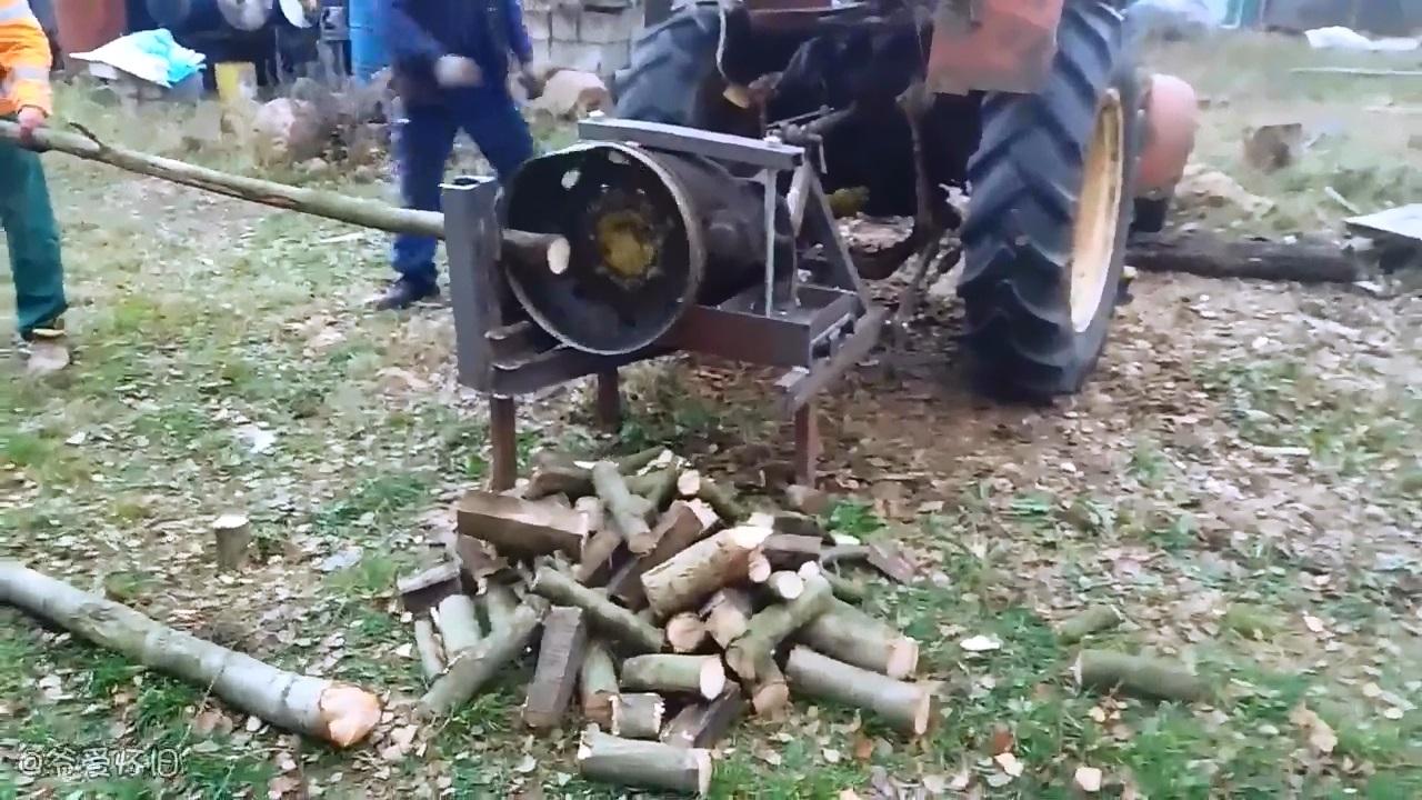 爷爱怀旧 波兰民间的砍柴机 简单粗暴