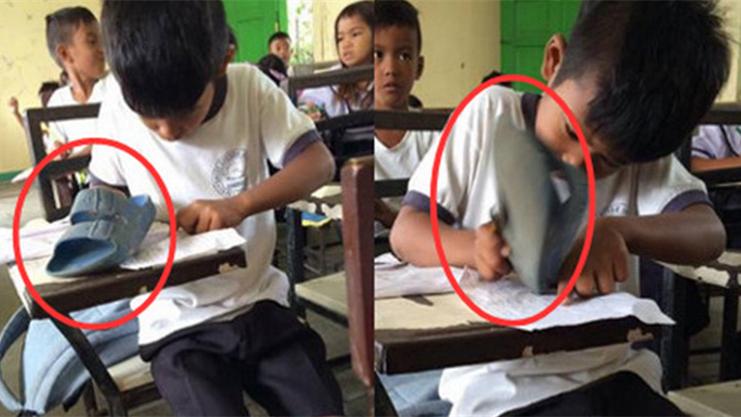 爷爱怀旧 YouTube每日视频精选 菲律宾一名二年级小学生家境贫困连橡皮都买不起只能用拖鞋来顶替 微博@爷爱怀旧 爷爱怀旧
